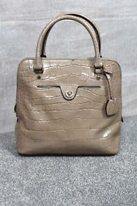 KAREN MILLEN Brown leather croc print statement shoulder bag + dustbag