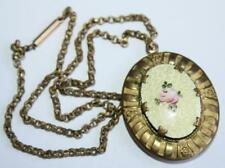 Antique Victorian Yellow Guilloche Enamel & Rose Gided Metal Lrg Locket Necklace