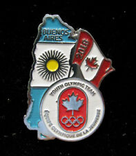 BUENOS AIRES 2018 YOG OLYMPIC GAMES Canada NOC Team Rare LE Map & Flag Pin