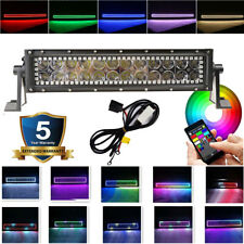 """14 inch Led Light Bar Combo w/ RGB Halo Multi Color Change Chasing Bluetooth 12"""""""