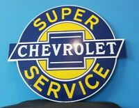 VINTAGE CHEVROLET PORCELAIN BOW-TIE GAS TRUCKS SUPER SERVICE SALES SIGN