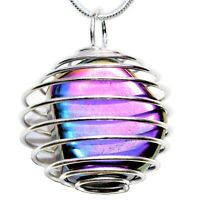 """CHARGED Platinum Silver Rainbow Magnetic Hematite Pendant + 20"""" Silver Chain"""