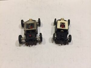 """vintage HO-scale 2 car lot Tyco """"S"""" series slot cars RUNNING CHASSIS ONLY"""