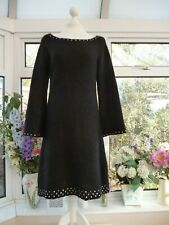 LYSGAARD BLACK WITH SILVER SEQUINS MOHAIR BLEND CHUNKY KNIT JUMPER DRESS Sz M