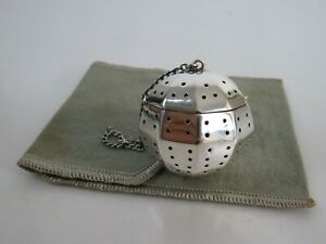 Heavy AMERICAN Art Deco Sterling Silver DECAGON Tea Ball Infuser & Pouch c1930S
