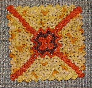 "Handmade crochet hot pad doily, fine crochet thread, 5"" x 5"", orange, yellow"