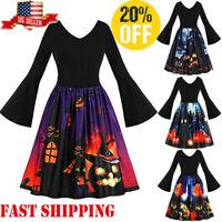 Fashion Women Long Sleeve Vintage Pumpkins Halloween Evening Prom Swing Dress