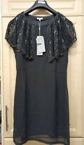 LADIES BLUE VANILLA BLACK BEADS EMBELLISHED CAPELET DRESS/TOP  UK 14 BNWT