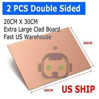 2PCS 30cm x 20cm Double Sided DIY Copper Clad Plate Laminate PCB Circuit Board