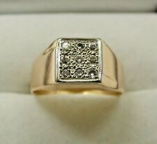1980's Gents 18ct Gold And Nine Stone Diamond Ring