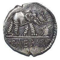 AR IMPERATORIAL DENARIUS JULIUS CAESAR AS DICTATOR 49 BC SILVER NOVELTY STRIKE
