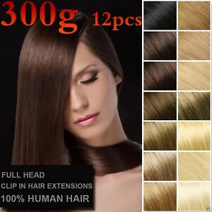 300g 12PCS Double Weft Thickest Clip In 100%Real Human Hair Extensions Full Head