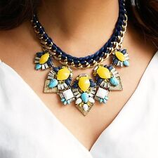 Statement Necklace, Turquoise, Blue & Yellow Vintage Statement Necklace