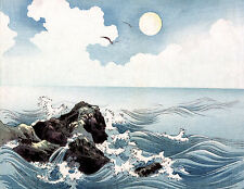 Japanese Art Asian Meiji Art Poster Print Woodblock Ocean Waves 11x15