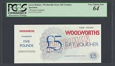 United Kingdom , A Specimen Voucher for 5 Pounds Woolworths Store
