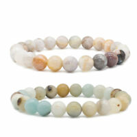 8mm Beads Natural Multi-Color Amazonite Stone Beaded Stretch Bracelet Unisex
