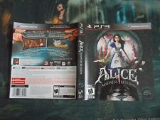 Alice Madness Return PS3 Cover PlayStation 3 Artwork manual Complete yours EA