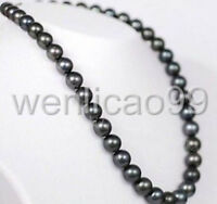 "BEAUTIFUL 23"" 9-10 MM AAA TAHITIAN BLACK PEARL NECKLACE 14K GOLD CLASP"