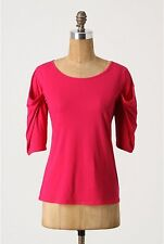 Folded Wings Tee Top Blouse Pink Cotton Short Sleeve Pilcro Anthropologie Size S