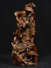 7 Chinese Boxwood Wood Carved Longevity Immortal God Shou Star Deer Crane Statue