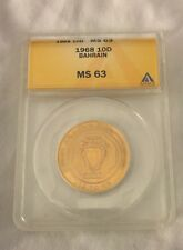 1968 Bahrain 10D 10 Dinar Gold Coin ANACS Grad MS63 MS-63 Isa Town Low Mint RARE