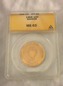 1968 Bahrain 10D 10 Dinar Gold Coin ANACS Grad MS63 MS-63 Isa Town Low Mint RARE