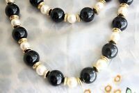 Vintage 1980s Double Strand Beaded Necklace Faux Pearls Round Black Beads
