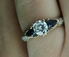 1.45 TCW GIA Certified Diamond & Sapphire Engagement Ring, 14K Size 6.5