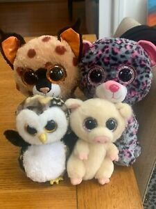 Mix of different Ty Beanie Boos stuffed animals ranging from S, M, L & XL