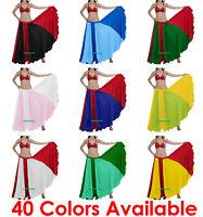 Satin Flamenco Skirts Mix Color 360 Full Circle Gypsy 12 Yard Belly Dance Jupe