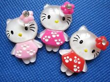 30 Glitter Resin Dressed Hello Kitty Button W/Flower-3 Colors