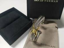 David Yurman X Crossover Sterling Silver 14k Gold Double Cable Bangle Bracelet