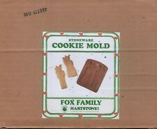 """Fox Family Stoneware Cookie Mold 7"""" Hartstone Can Use or Display"""