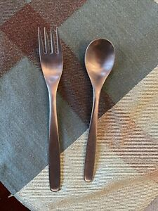 ORIGINAL RUSSEL WRIGHT HULL PINCH Stainless FLATWARE Fork and Spoon. No Japan