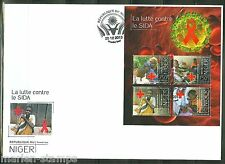 NIGER  2013  BATTLE AGAINST AIDS  RED CROSS  SHEET FDC