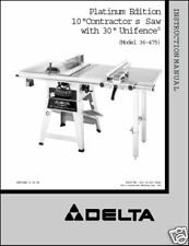 "Delta 10"" Table Saw Instruction Manual Model 36-475"