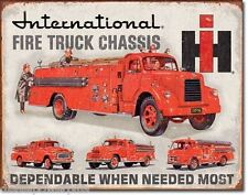 Vintage Replica Tin Metal Sign International Fire Truck Chassis IH tag shop 1680