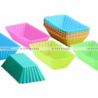 6pcs Silicone Rectangle Cake Muffin Cupcake Liner Chocolate Bake Cup Mold