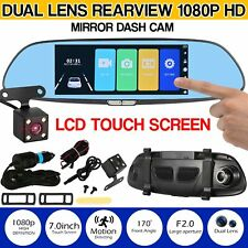 "Car Touch Screen Dvr 7"" Camera Mirror Recorder Hd 1080p Video Dash Rear View"