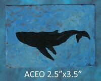 Original ACEO - Whale - miniature acrylic painting, not framed