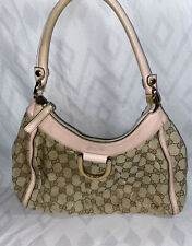 Gucci Guccissima Auth D-Ring Beige Pink Monogram GG Canvas Leather Shoulder Bag