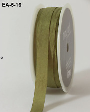 1/2 Inch Solid Wrinkled Ribbon - May Arts - EA16 - Olive - 5 yds.