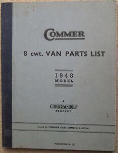 Commer 8 cwt Van Parts List 1948 (Pub No 322)