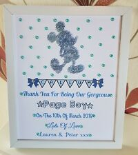 Personalised Framed Mickey Page Boy/Usher Thank You Gift/Keepsake/Wedding Favour