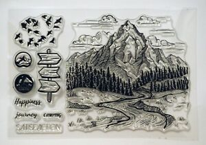 Mountain Hill Scene, Walking Hiking, Scenic Clear Stamps - BNIP - Free P&P