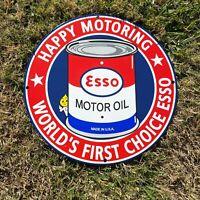 """VINTAGE  """"ESSO HAPPY MOTORING"""" CAN 12"""" PORCELAIN METAL GASOLINE & OIL PUMP SIGN!"""