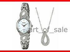 Seiko Women's Crystal Jewelry Solar Bracelet Watch & Necklace Box Set SUP367