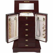 Brown Wood Tabletop Jewelry Armoire Box Makeup Mirror Lock Key Drawers Storage