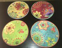 """(4) Certified International Sue Zipken TUNISIAN SUNSET 8 3/4"""" Salad Plates"""