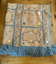 Vintage Hand Made Crocheted Floral Tassel Afghan Blanket Personalized for Sherry